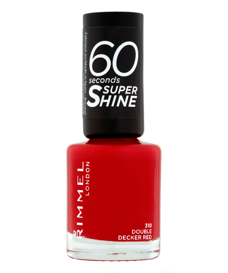 Fiive Beauty Top 5 Red Nail Polishes Rimmel 60 Seconds Super Shine Double Decker Red